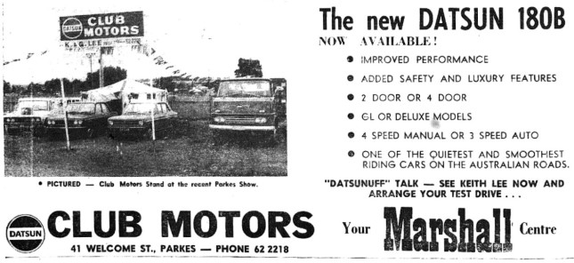 "Motoring advertising in 1972 - featuring more ""puntastic"" efforts from Parkes Shire business folk! Source: Parkes Champion Post Monday September 18, 1972 page 4"