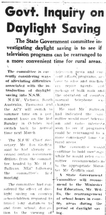 Forty-five years later and daylight saving is still a topic of conversation. This article focuses on the scheduling issues with television programs during Daylight Savings Time. Source: Trundle and Tullamore Star Wednesday September 13, 1972 page 4
