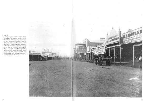 This photograph was a double page in Ian Chambers' excellent book Parkes: A Photographic History. The inscription reads: A fine photograph of Clarinda Street from just south of the Square in the early 1890s. Howard's are still in their original store on the right, before the rebuilding program of 1896, and next door Manson & Co. are advertising a monster clearance sale. Next to this sign a carpenter can be seen working on the roof of Bollinger's watchmaker's shop. The double-storey building on the right housing the XLCR Furnishing Depot was built by Mark Coleman in 1890, and Powell's Cash Store occupies the north-western corner of the Square. Source: Parkes: A Photographic History by Ian Chambers (1988) pages 62-63