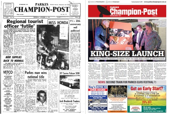 Front page comparison of Parkes Champion Post in 1972 and 2017. In 1972 the main article is regarding the futility of appointing a regional tourist officer, with the region being too large for one person to effectively promote. Also on the front page are reports on beer supplies being replenished and Parkes resident, John Pizarro being crowned Australian National Go-Kart Roadrace champion. The contemporary front page is in colour and contains only one article. The launch for Elvis Festival 2018. Source: Parkes Champion Post Wednesday September 13, 1972 and Parkes Champion Post Tuesday September 13, 2017