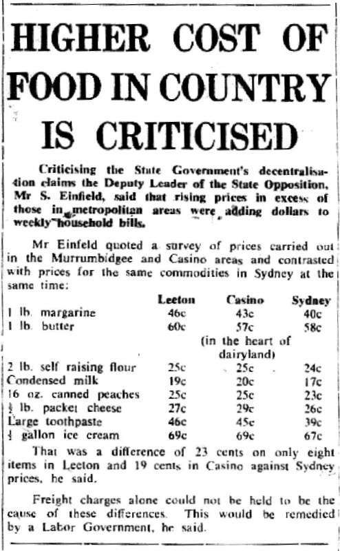 Today's readers may marvel at the cost of grocery items back in 1972. However the comparison between city and country prices continues today. Source: Narromine News & Trangie Advocate Tuesday September 5, 1972 page 3