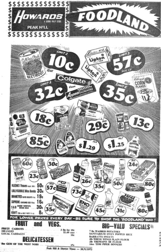 Popular stores, this advertisement was for Howards stores' Peak Hill site and was usually what readers found on the second page of their local newspaper. Source: Peak Hill & District Times Wednesday September 20, 1972 page 2