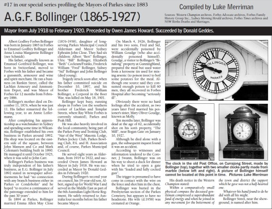 When editor of Parkes Champion Post, Luke Merriman researched a series on the former Mayors of Parkes. This feature on A.G.F. Bollinger was one of the few to not feature any photographs of person profiled. Source: Parkes Champion Post Monday, May 23, 2011 page 7