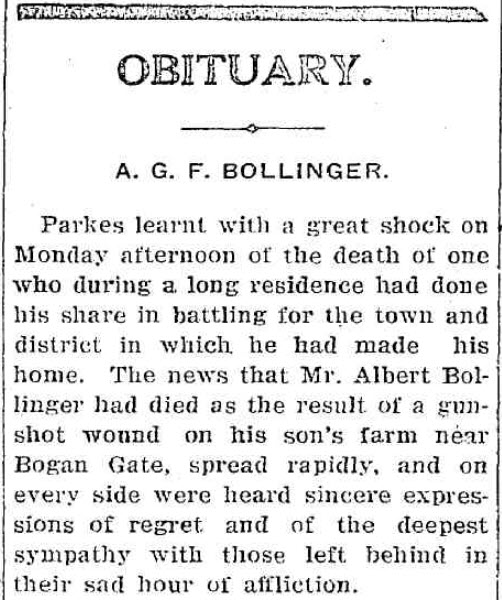 An extract of the Obituary for A.G.F. Bollinger which details the high regard he was held in, as well as the impact he had on the community. To read the full obituary, click here. Source: Western Champion Thursday January 13, 1927 page 11