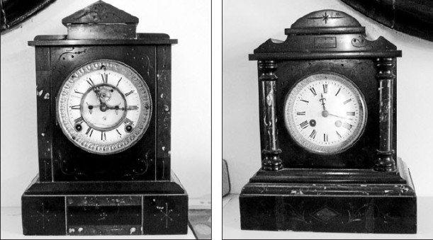 Two smaller clocks, made from marble by Bollinger. Source: Parkes Champion Post Monday May 23, 2011 page 7