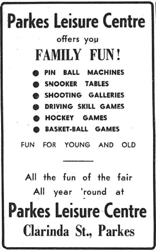 Entertainment in 1972 meant young people headed to the Parkes Leisure Centre. Located in Clarinda Street it was popular but also attracted negative news and complaints to police and council aldermen were regularly made. Source: Parkes Champion Post Wednesday September 27, 1972 page 13 and Parkes Western People Thursday October 12, 1972 page 1