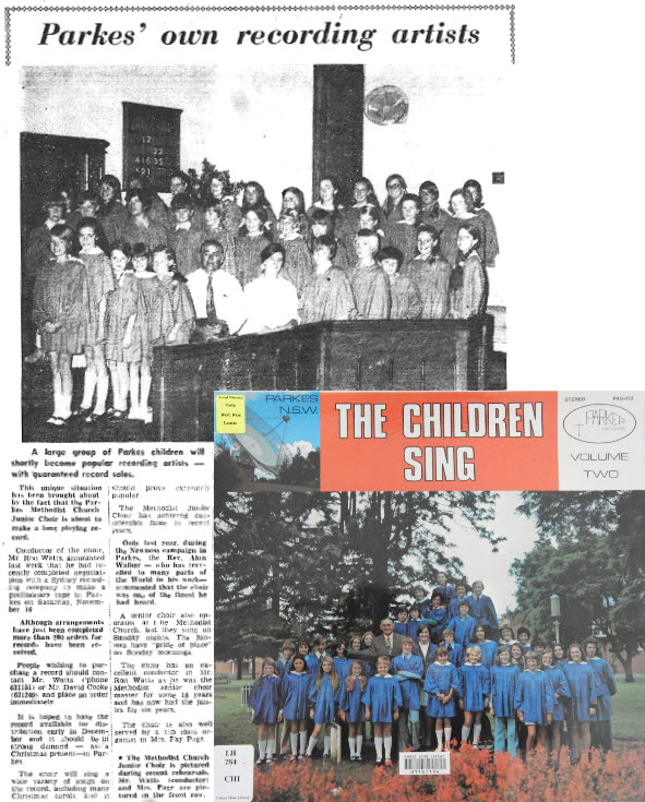 Parkes has an extensive relationship with musical artists, and this 1972 report showcases new talent from the shire. Parkes Methodist Church Junior Choir produced a record of their singing. Today the Methodist Church is Parkes Uniting Church and records have been replaced by CDs and digital music platforms. Source: Parkes Champion Post Wednesday October 18, 1972 page 3. Photograph is the second long playing record that Methodist Junior Choir recorded in 1974. Volume 1 was recorded in Parkes on Saturday November 16 and available for sale the following month.