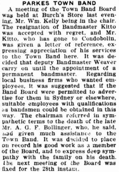 One of the many organisations that benefitted from Bollinger's services. Source: The Forbes Advocate Friday February 18, 1927 page 8