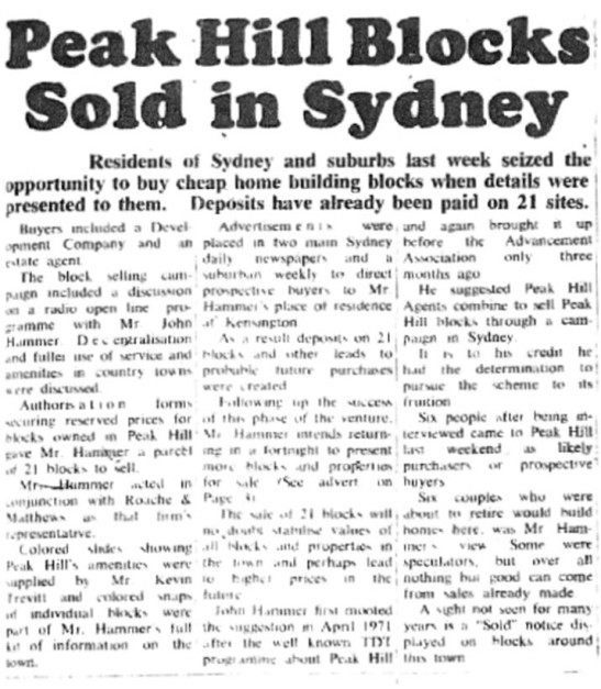 Real estate is still a topic of conversation although this front page report shows that Peak Hill blocks were being sought by Sydney investors. Source: Peak Hill & District Times Wednesday October 11, 1972 page 1