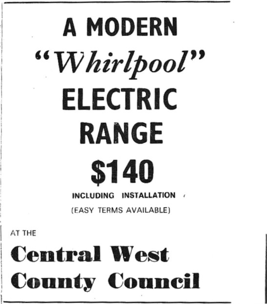 Modern appliances in 1972. This advertisement contains no images, and is unclear in 2017 what the item is. While only speculation, it is likely to be for a washing machine, similar to this one which was released in 1972 https://youtu.be/MzKg14xxyOM Source: Parkes Western People Thursday September 21, 1972 page 2