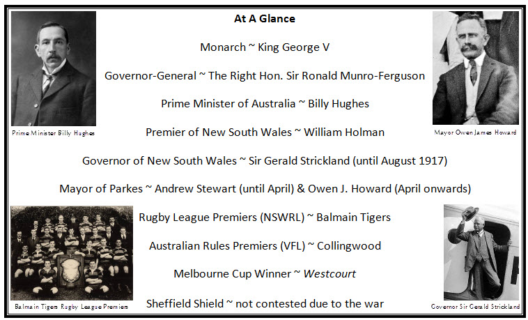 "A snapshot of statistics from 1917. The reigning monarch was King George V. Governor-General of Australia was the Right Honourable Sir Ronald Munro-Ferguson. Prime Minister of Australia was Billy Hughes. Premier of New South Wales was William Holman. Governor of New South Wales was Sir Gerald Strickland until October 1917 - although Sir Walter Davidson didn't officially become the new Governor until 17 February 1918. There were two Mayors of Parkes in 1917 with Andrew Stewart Mayor until April and then Owen James Howard was voted in and remained Mayor until June 1918. The New South Wales Rugby League competition (forerunner to NRL) saw Balmain Tigers crowned champions, with Collingwood winning the VFL (precursor to AFL). The Melbourne Cup was won by ""Westcourt"". The cricket state competition the Sheffield Shield was not contested due to the war."