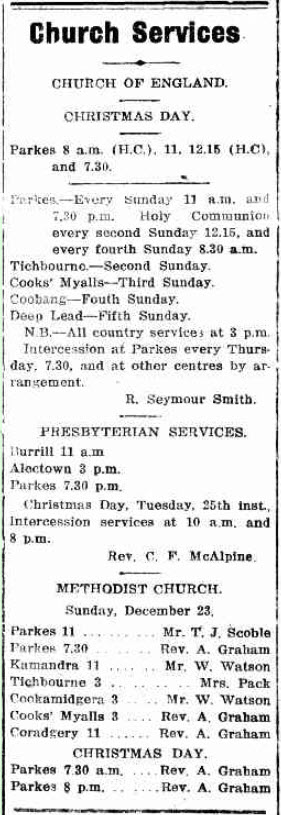 An advertisement in the local paper advising of the church services on Christmas Day 1917. Church of England (now called Anglican), Presbyterian and Methodist (now Uniting Church) are listed along with the various locations. Source: Western Champion Thursday 20th December 1917 page 17