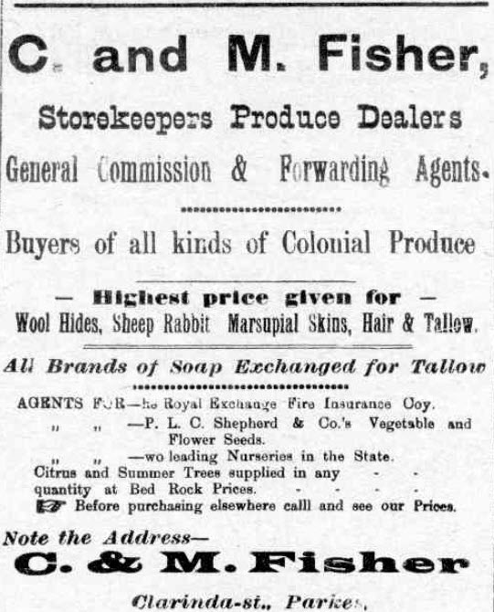 An advertisement for Constantine and Matthew Fisher's general store, located on Clarinda Street and Pholeros Lane. Con Fisher was Mayor of Parkes five years earlier. Source: The Western Champion Thursday 13 December 1917 page 2