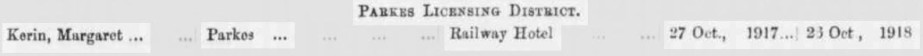 Newspaper report highlighting the Margaret Kerin was the new licensee for Parkes' Railway Hotel. Source: Government Gazette of the State of New South Wales Friday 21st December 1917 page 6911