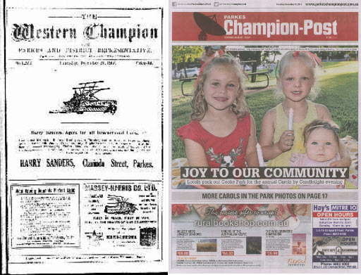 Front page comparison of Western Champion in 1917 and Parkes Champion Post in 2017. In 1917 the front cover had three advertisements, all for agricultural needs. The colour front cover of 2017 also has three advertisements - one for an online bookshop, one for local hardware store and a gifts and gardenware shop - plus a colour photograph of young locals at the Carols by Candlelight evening in Cooke Park. Source: The Western Champion Thursday 13th December 1917 page 1 and Parkes Champion Post Tuesday December 12, 2017 page 1.