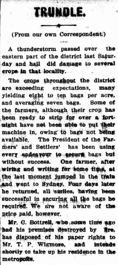 Even one hundred years ago, farming was a difficult endeavour. With crop yields looking to exceed expectations, farmers experienced the devastation of crop damage due to hail. Source: Western Champion Thursday 20th December 1917 page 17