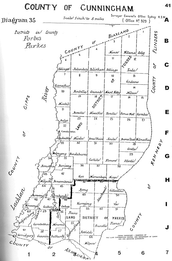 Reproduction of map of the county of Cunningham. For presentation purposes, the compiler of maps, Alice Jansen, has rotated the map 90 degrees. The County of Gipps is south of Cunningham, with Ashburnham to the south-east. Source: Jansen, A. (1999). County & Parish Maps of N.S.W. with index (map). Emu Plains, NSW: Genial Enterprises page 41