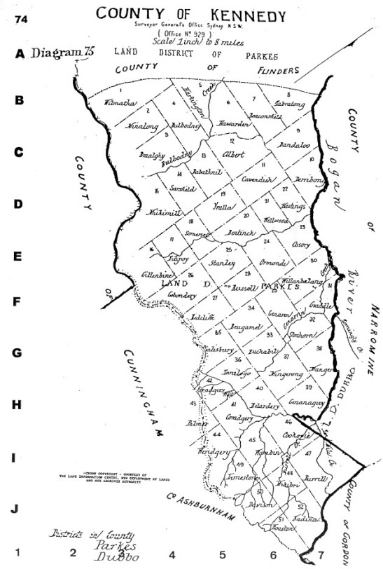 Illustration of the map of Kennedy county. For presentation purposes, the compiler of maps, Alice Jansen, has rotated the map 90 degrees. Narromine County is north of Kennedy, with the counties of Cunningham and Ashburnham to the south. Source: Jansen, A. (1999). County & Parish Maps of N.S.W. with index (map). Emu Plains, NSW: Genial Enterprises page 74