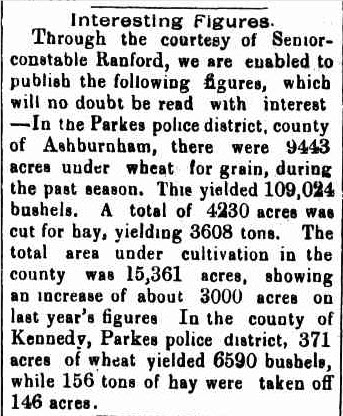 Newspaper report mentioning both the counties of Ashburnham and Kennedy. Source: Western Champion Friday 4 February 1898 page 8 which can be found at http://nla.gov.au/nla.news-article112287768
