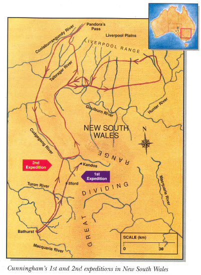 Image highlighting Cunningham's 1st and 2nd expeditions in New South Wales. Source: Jensen, J. & Barrett, P. (1996). Australian Explorers: Allan Cunningham. Brisbane, QLD: Future Horizons Publishing. page 15