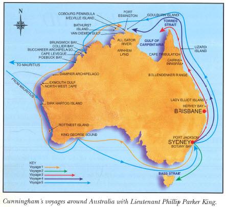 The five voyages of Allan Cunningham when he accompanied Lieutenant Phillip Parker King. Source: Jensen, J., & Barrett, P. (1996). Australian Explorers: Allan Cunningham. Brisbane, QLD: Future Horizons Publishing. page 8