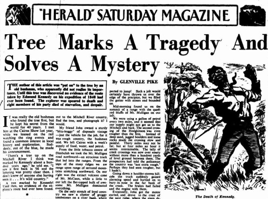 "An excerpt from newspaper article about the tragedy and mystery involving Kennedy's death. To read the full article click here. Source: ""HERALD"" SATURDAY MAGAZINE (1949, October 1). The Sydney Morning Herald (NSW : 1842 - 1954), p. 7. Retrieved January 22, 2018, from http://nla.gov.au/nla.news-article18135482"