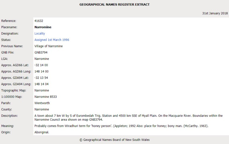 "Snapshot from the website for Geographical Names Board of New South Wales. While not confirmed, it is believed to be a Wiradhuri [sic] term for ""honey person"". Source: Geographical Names Board of New South Wales website"