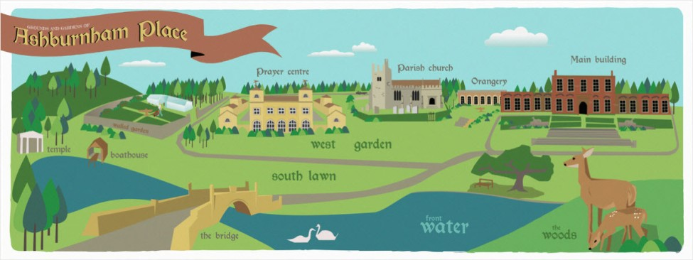 An illustrated map of the grounds and gardens of Ashburnham Place highlighting the extensive estate. Source: They Draw & Travel website which can be found at http://www.theydrawandtravel.com/illustrations/5981-gardens-and-grounds-of-ashburnham-place