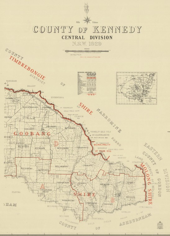 Reproduction of map of County of Kennedy. Most of the now amalgamated Goobang Shire formed a large percentage of Kennedy County. The border to the north meant that most of Peak Hill was in adjacent Narromine County. Source: Trove website