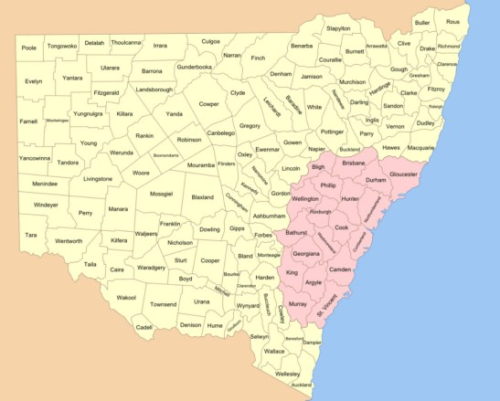 Map of the 141 counties of New South Wales (this is prior to the establishment of the Australian Capital Territory). The four counties that encompass the modern day Shire of Parkes include parts of Kennedy, Cunningham, Narromine and Ashburnham counties. The original Nineteen Counties are shown in pink Source: Wikipedia