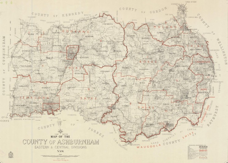 Map of the County of Ashburnham, dated 4th January 1933. Source: Trove website