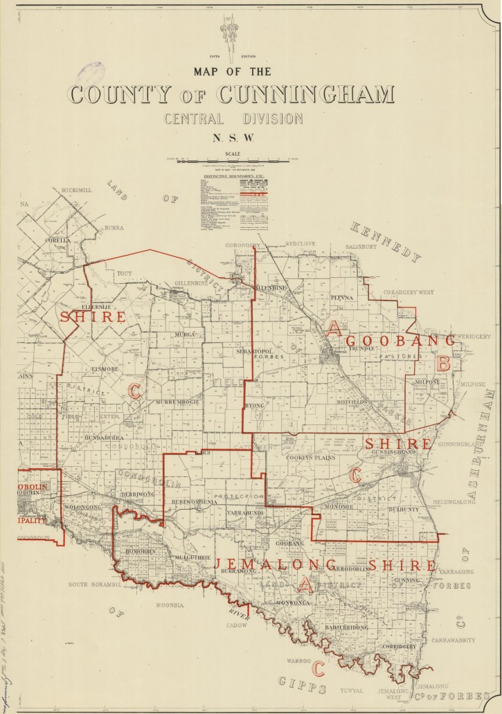 Map of the County of Cunningham which was compiled, drawn & printed at the Department of Lands in 1958. Source: Trove website the address is http://nla.gov.au/nla.obj-233844715