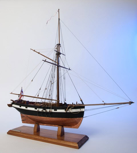 Photograph of the model of HMC Mermaid, used by Phillip Parker King and Allan Cunningham. Built in Howrah, India in 1816. Source: Silent World Foundation website