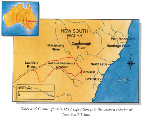 Map highlighting the 1817 expedition of John Oxley and Allan Cunningham. The expedition left Bathurst on 20 April 1817 and included Oxley, Cunningham as well as Charles Fraser, and George Evans. Source: Jensen, J., & Barrett, P. (1996). Australian Explorers: Allan Cunningham. Brisbane, QLD: Future Horizons Publishing. page 5