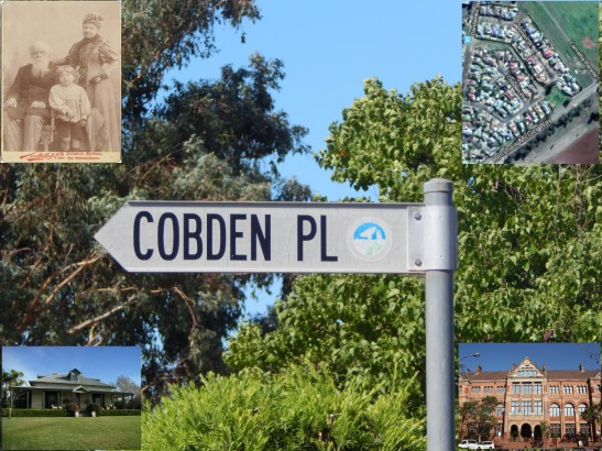 Main picture: photograph of street sign of Cobden Place, Parkes. Smaller pictures clockwise from top left: a young Cobden with his parents; satellite image of Cobden Place; Sydney Technical College; Hampton Villa, Balmain where young Cobden first lived. Source: Photograph by Dan Fredericks (Parkes Shire Library) taken on February 15th, 2018; Our Family Past website; Google maps; Sydney City blog; NSW Office of Environment & Heritage website