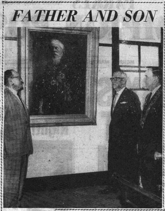 On March 28th 1969, Cobden Parkes visited Parkes to officially open the new building that housed the Parkes Historical Society's museum. Photographed here, unveiling the portrait of Sir Henry Parkes in the meeting room of Parkes Municipal Council Chambers, are (left to right) the Hon. F.W. Spicer (M.L.C.); Mr Cobden Parkes, O.B.E. and the Mayor Ald. J.E. Scoble. Source: Parkes Champion Post Monday March 31st, 1969 page 2