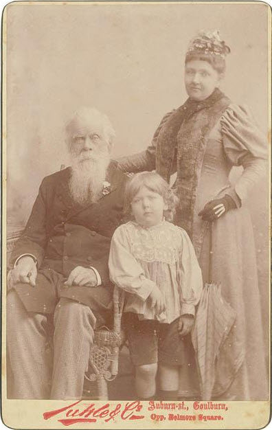 A family portrait. This photograph, although undated, contains Sir Henry Parkes, his second wife Eleanor, and their son Cobden Parkes. As Cobden's mother passed away when he was only three that is approximately how old young Cobden is here. Cobden lost his father ten months after his mother's passing. He was raised by his stepmother, Sir Henry Parkes' third wife Julia. Source: Our Family Past website