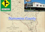 Montage to Narromine County. Background is the map of the county of Narromine. Overlayed are a replica of the road sign to Hervey Park Road, Peak Hill and photograph Lindner Corner situated on Newell Highway and Mingelo Street, Peak Hill. Images source: Map from Trove; road sign made using images from Roads and Maritime Services and Snagit; and photograph from Peak Hill website
