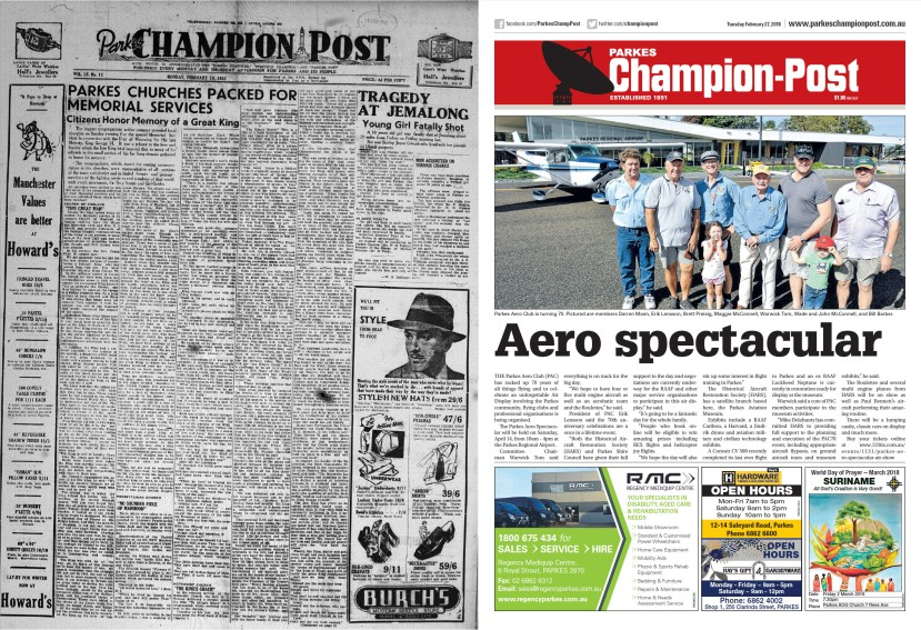 Front page comparison of Parkes Champion Post in 1952 and 2018. Prior to the installation of 'The Dish' our iconic landmark was Memorial Hill monument. Colour printing was still too expensive and there was plenty of reading material on the front page, compared to today where the use of colour, bold type and images are used to capture a reader's attention. Source: Parkes Champion Post Monday February 18, 1952 page 1 and Parkes Champion Post Tuesday February 27, 2018 page 1