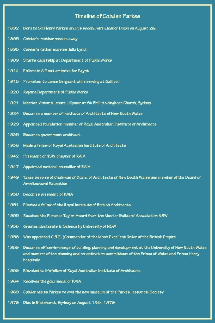 Timeline of Cobden Parkes