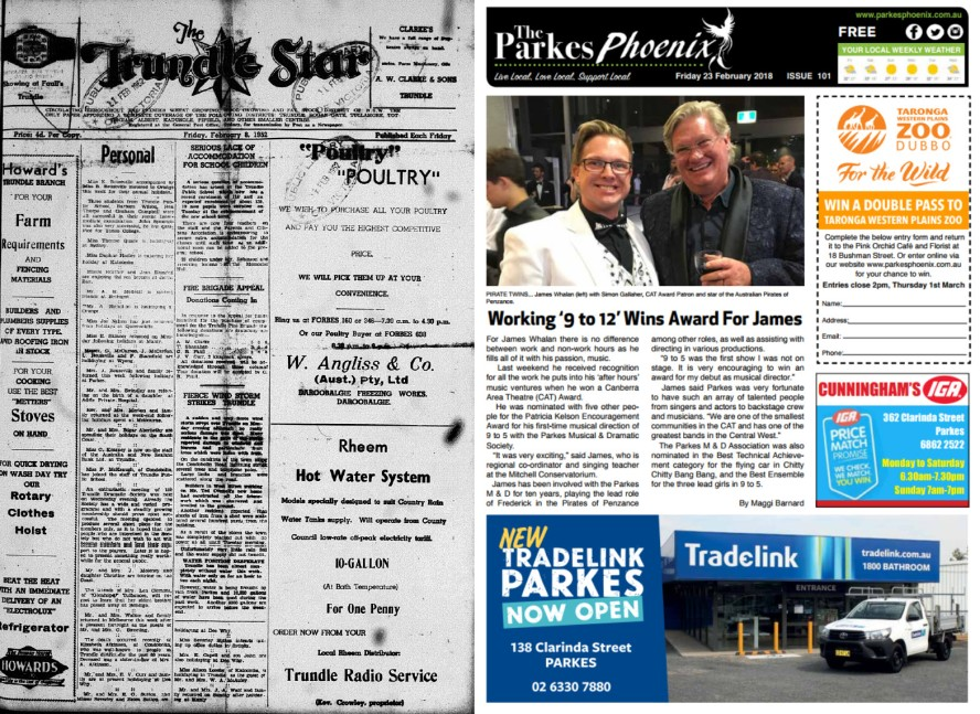 Two more newspaper front pages to compare. The Trundle Star and The Parkes Phoenix are similar in the number of pages but that's where the similarities end! The contemporary Phoenix has all the benefits that the latest technology provides. It is also FREE whereas readers needed to shell out 4 pence (approximately 3 cents) Source: The Trundle Star Friday February 8 1952 page 1 and The Parkes Phoenix Friday February 23 2018 page 1