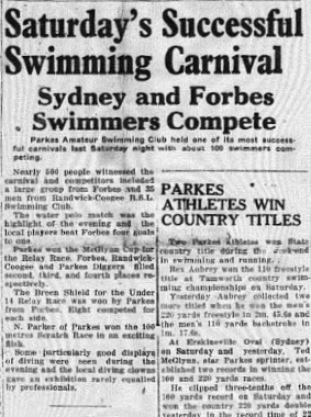 Looking to the future! This front page article highlights two future Parkes champions! The main article reports on Rex Aubrey's exploits while the smaller article confirms the talents of another future Olympian, Ted McGlynn. Source: Parkes Champion Post January 29. 1952 page 1