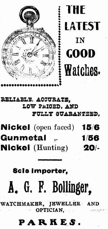 Another retailer who would one day be Mayor of Parkes was A.G.F. Bollinger. Watchmaker, jeweller and optician, Bollinger's store was well known throughout the district. Source: The Western Champion March 20, 1913 page 9