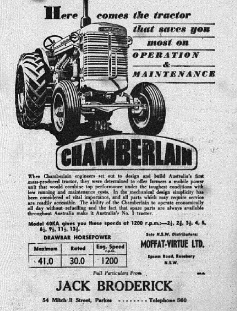 While contemporary readers will remember Broderick Motors as retailers of Holden vehicles, in 1952 Jack Broderick sold Chamberlain tractors. Source: The Champion Post February 7, 1952 page 9