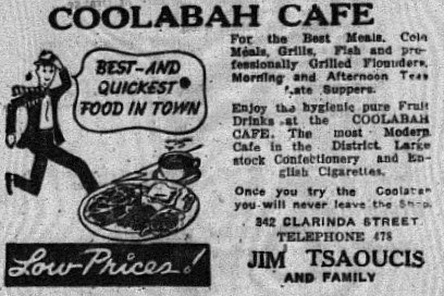 Long term residents will recognise the name of the family-run cafe that was a popular eatery for many years. Located at 263 Clarinda Street, it is no more a cafe but the building remains (it was formerly Chester the Chick) Source: Parkes Champion Post January 17, 1952 page 7