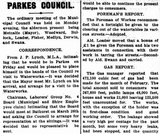 An excerpt of the Parkes Council report that featured in the local newspaper. Source: The Western Champion Thursday March 20, 1913 page 11