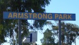 Photograph of signage at Armstrong Park by Dan Fredericks (Parkes Shire Library) taken on February 15th, 2018
