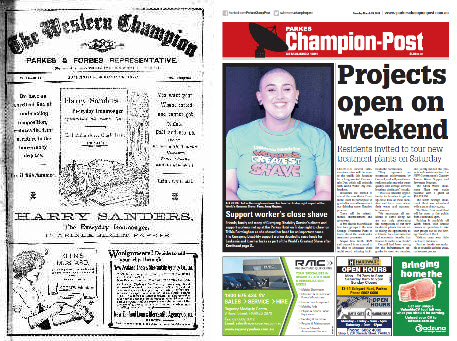Front page comparison of The Western Champion and its contemporary version Parkes Champion Post. In 1913 the entire front page were advertisements in black and white. The front page of 2018 is in colour, has photographs (not just images) and contains two important stories - Currajong Disability Service support worker, Trilbie Bermingham who has shaved her head to raise money for cancer research; and open day at Parkes Shire Council's new Water Treatment Plant. Source: The Western Champion Thursday March 20, 1913 page 1 and Parkes Champion Post March 20, 2018 page 1