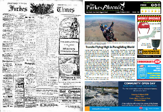 Another front page comparison between 1913 and 2018. The short-lived Forbes Times (in 1920 it was incorporated into The Forbes Advocate) contains a mixture of advertisements and public notices on its front page with correspondence from Calare candidate. The Parkes Phoenix has advertisments and notices in colour (web-based version, print version is black and white) and its main story is the history-making paragliding event held in Trundle. Source: The Forbes Times Wednesday March 19, 1913 page 1 and The Parkes Phoenix Friday March 16, 2018 page 1
