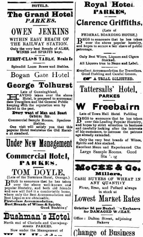 Some familiar businesses, some familiar names. Country towns usually have a selection of drinking holes, and Parkes is no different. With changes in management, the hotels all vie for the business of locals and visitors to the district. Source: Western Champion March 20, 1913 page 2
